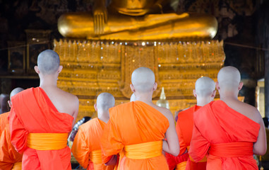 Group of Buddhism monks at Wat Suthat in Bangkok ,Thailand