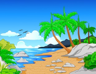 Beach with palm trees/tropical beach