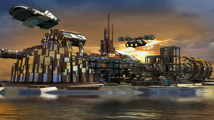 Science fiction city with metallic ring structures on water