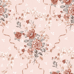 Foto op Canvas Vintage Bloemen flowers seamless pattern background - For easy making seamless p