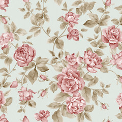Stores photo Fleurs Vintage flowers seamless pattern background - For easy making seamless p