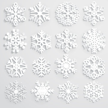 Set of paper snowflakes