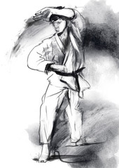 Karate - Hand drawn (calligraphic) illustration