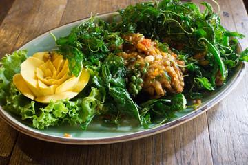 Thai food, stir-fried Soft-shelled Crab in basil sauce