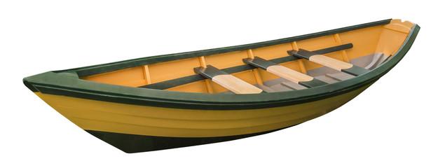 New England dory rowboat on white, isolated