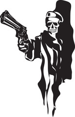 Skull with gun vector
