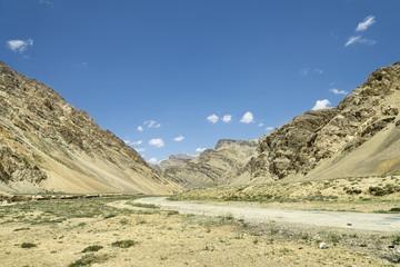 Ancient Himalaya mountains and road