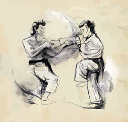 Karate - Hand drawn (calligraphic) vintage vector