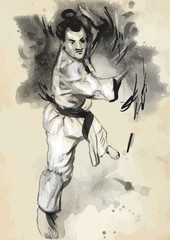 Karate - Hand drawn (calligraphic) vintage vector