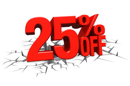3D render red text 25 percent off on white crack hole floor.