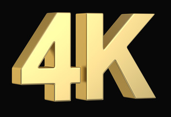 Golden 3D 4K symbol isolated with clipping path