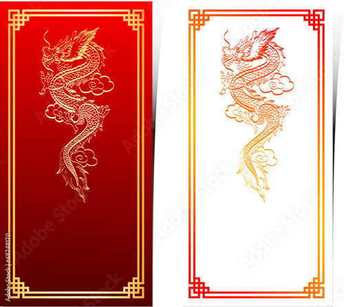 chinese traditional template with chinese dragon on red backgrou