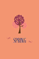 Vector illustration with spring tree and