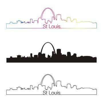 St Louis skyline linear style with rainbow