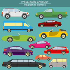Passenger car, transportation infographics