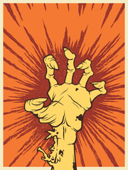 Vintage halloween icon - zombie hand with anger