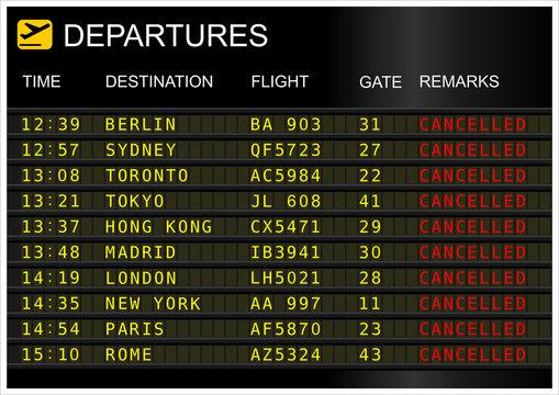 Flights departures board. Cancelled