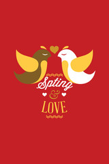 Vector illustration with spring birds and