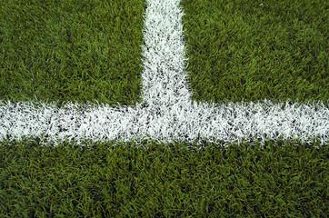 Closeup halfway line of a football field