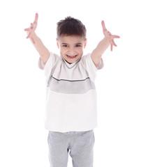 Little boy isolated on white background