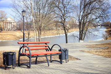 spring landscape city park bench