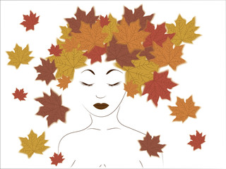 girl and maple leaves