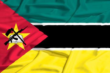 Mozambique flag on a silk drape waving