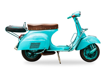 Foto auf Acrylglas Scooter old vintage motorcycle isolated with clipping path