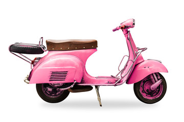 Fotorolgordijn Scooter old vintage motorcycle isolated with clipping path