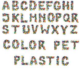 alphabet from plastic caps