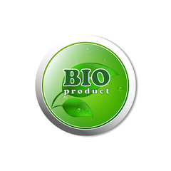 Bio product button with water drops