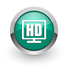 hd display green glossy web icon