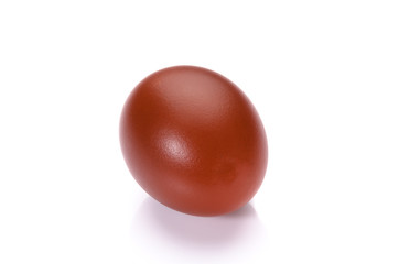 Red easter egg isolated on white background