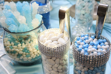 Blue and white candy
