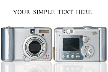 Two old-fashioned compact cameras on white background