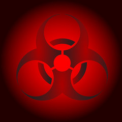 red sign of mortal danger of Radiation contamination
