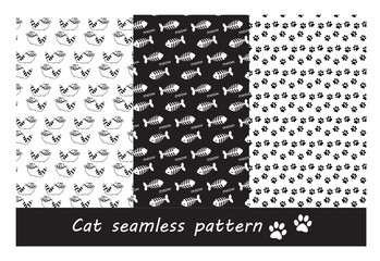 Seamless patterns of cat shapes. paw prints and fish bones