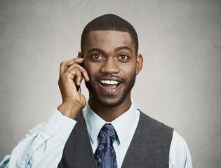 Portrait Happy man Talking on Smart Phone, grey wall background