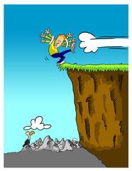 Man teetering over cliff