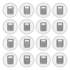 Vector of flat icon, calculator set on isolated background
