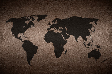 closeup Screen World map flag concept on PVC leather for backgro