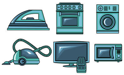 Illustration of vector icons of appliances