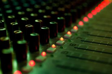 Fragment consoles sound mixer closeup