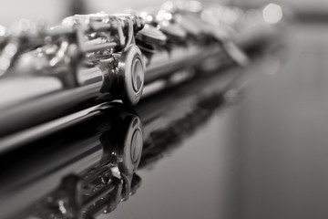 Flute fragment in black and white