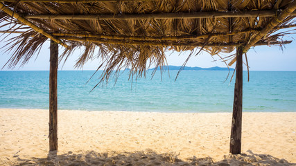 Seaview from inside a bamboo hut at the beach