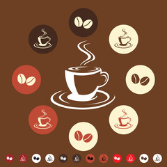 Coffee cup & coffee bean icon set