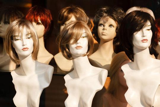 Mannikin heads in a wig store