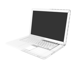 Half of the laptop - wire-frame