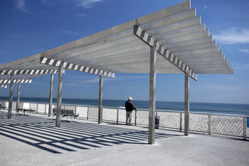 beach shelters on the sea coast