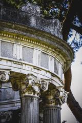 temple, Greek-style columns, Corinthian capitals in a park